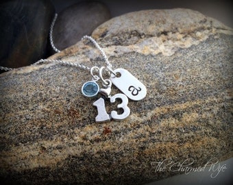 13th Birthday Gifts - Personalized - Birth Stone Jewelry - Hand Stamped Necklace - Teen Gifts