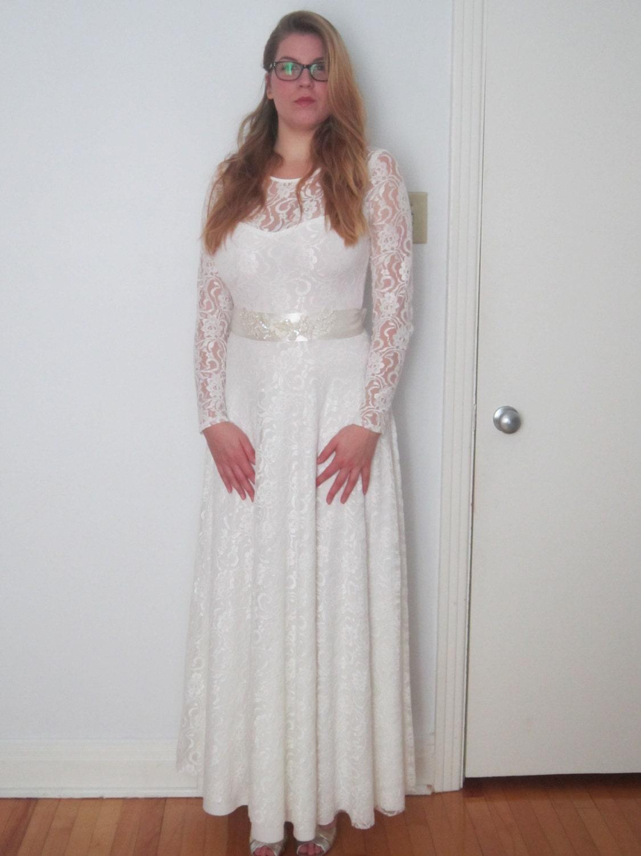 Boho Hochzeit Kleid langarm Brautkleid aus weißer von Retrospectiff