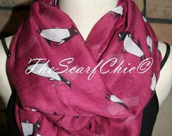 Penguin Infinity Scarf-Arctic Penguin Maroon Circle Loop Scarf  Chunky Infinity Scarf-Womens Accessory-Cute Seasonal Scarf