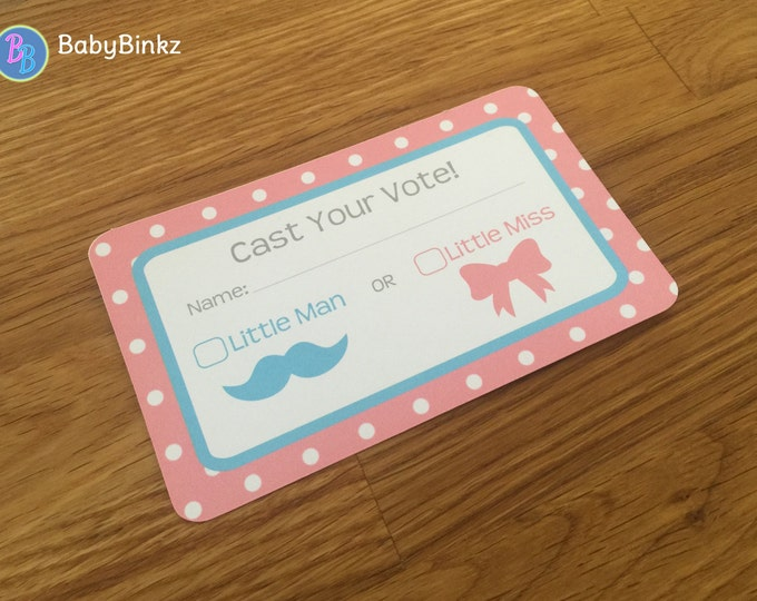 Voting Cards -  Gender Reveal Party Baby Shower Die Cut Pink Girl Bows & Blue Boy Mustaches Vote Game Little Man or Miss