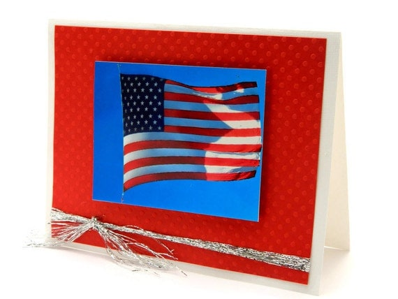 4th of July Card - Fourth of July Cards - Independence Day Card - American Flag Card - Handmade Photo Greeting Cards - Red White and Blue