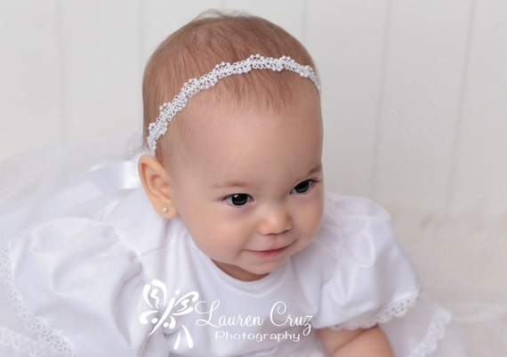 White Trim with Pearls Halo Headband for Christenings, Baptism, Weddings, Baby Photo Props, Newborn Photo Shoot by Lil Miss Sweet Pea