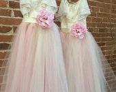 Blush Flower Girl Tulle Dress with Lace Collar Tutu Gown