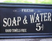 Vintage Style Bath Sign  Soap & Water Primitive Distressed Frame Country Antique Look NEW Black