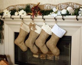 The New Classics  - Set of Four (4) Burlap Stockings w/ White & Ivory Cuffs, Christmas Burlap Stockings