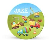 Kids Personalized Dump Truck Plate - Construction Trucks Melamine Plate for Boys - Personalized Plastic 10 inch Plate