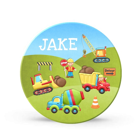 Kids Personalized Dump Truck Plate - Construction Trucks Melamine Plate for Boys - Personalized Plastic 10 inch Plate - Christmas Gift