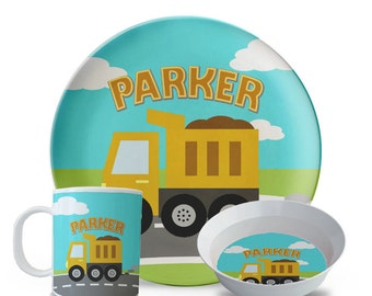 Child's Melamine Plate Set, Personalized Dump Truck Plate Set, Child's Construction Birthday Plates,  Melamine Dish
