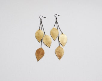 Gold earrings, long dangle earrings, leather earrings, leaves earrings, gold leaves, boho earrings, Christmas gift for her, winter trends
