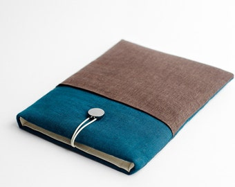 Surface Pro 4 case, teal, brown, with pocket
