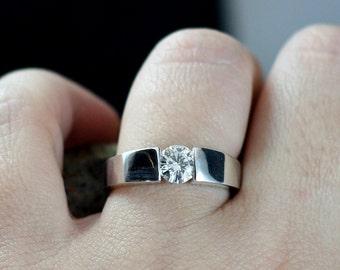 White Sapphire Engagement Ring Modernisme Petite Modern Tension Ring Round Cut 1ct 6mm Custom White-Yellow-Rose Gold-10k-14k-18k-Platinum