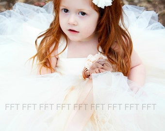 Champagne, Ivory, Caramel Flower Girl Tutu Dress