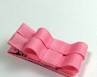Baby Hair Clips -Pink- Tuxedo Bow Hair Clip Set - Baby, Girl, Toddler, Children
