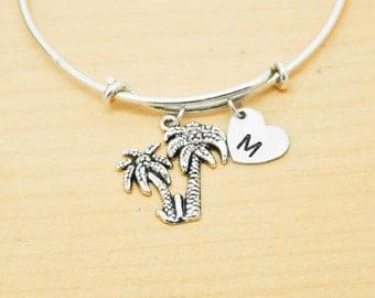 Tree Bangle, Sterling Silver Bangle, Tree Bracelet, Bridesmaid Gift, Personalized Bracelet, Charm Bangle, Monogram, Initial Bracelet