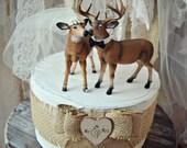 Deer wedding cake topper-Bride-groom-ivory-veil-Mr and Mrs-Hunting wedding cake topper-Deer bride and groom-Hunting-Buck-Wedding Cake Topper