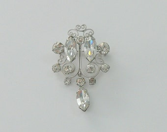silver  glass brooch