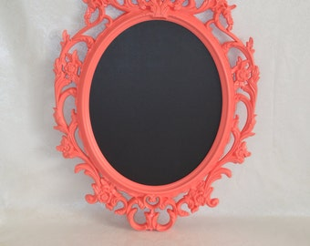 Ornate Coral oval framed chalkboard-Large Oval baroque frame