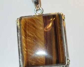 Golden Brown Tiger Eye Pendant in Sterling Silver
