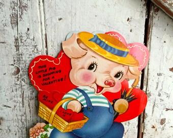 Vintage Valentine Pig card, large mechanical, Piggy with basket valentine Standing valentine decoration, ornament,