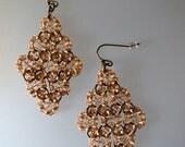 Deco Diamond Crochet Wire Earring Antiqued Brass