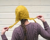 Yellow ear flap hat hand knit hood textured gift women girl teen tassels