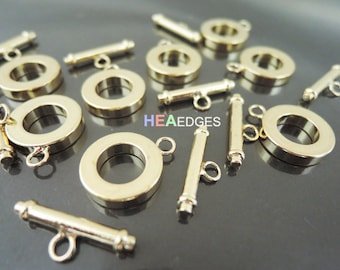 Toggle Clasps - 2 Sets Finding Gold Toggle Clasps Round Buckle Bar and Ring Toggle Clasp