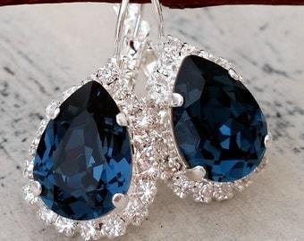 Navy Blue crystal drop earrings, Navy blue Swarovski Drop earrings, Bridal earrings, Bridesmaids gifts, Dangle earrings, Silver or gold