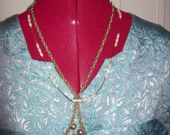 Vintage Ladies Gold Chain Lariat & Seed Pearl Chain Necklace Both for 5 USD
