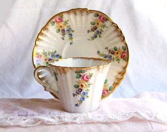 Vintage Royal Standard Teacup & Saucer Bone China with Gilded Floral Pattern
