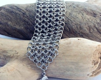 Wider Stainless Steel Chainmaille Bracelet - Ready to Ship - Fast Shipping