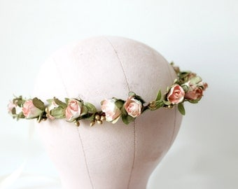 Pink and White Gold Rosebuds Floral Crown Wedding, Flower Crown, Spring, flower girl, Bridal, Hair Accessories,