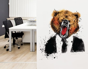 Handsome Grizzly Bear | Removable Repositionable Wall Sticker | LSB0007CLR