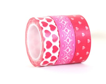 Valentines Day Japanese Washi Tape Set Love Hearts Pretty Lace Red White and Pink Magenta Fuchsia Colorful Trio Set