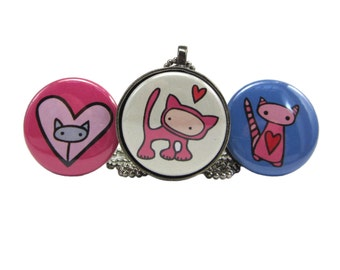 Punk Kitty Necklace Set - Set of Three Cat Pendants - Interchangeable Cat Necklaces