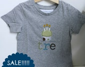 3rd birthday grey T-shirt with cupcake and 3 candles - SALE!