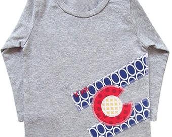 Colorado Flag Tees: long sleeve; flag, colorado, handmade, applique, toddler