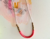 Tickled Pink Necklace On Grey Silk Cord