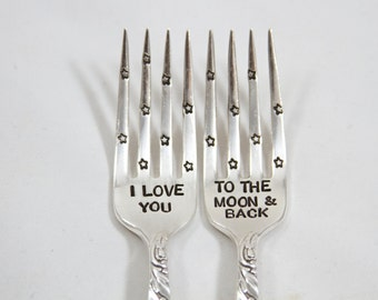 I Love You to the Moon and Back - Fork Set - Hand Stamped with wedding date - personalized with the bride and groom wedding date