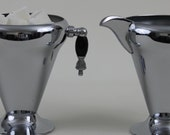 Art Deco Chrome Sugar and Creamer with Tear Drop Handles Vintage Stainless Steel and Chrome