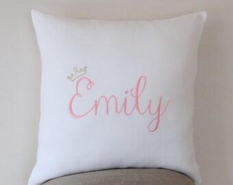 Girls custom pillow etsy princess pillow case personalized baby pillow personalized gift baby shower baby gift negle Choice Image