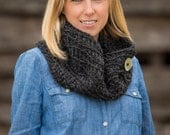 Crochet Chunky Cowl Scarf with Button, Wool Blend Circle Scarf in Charcoal Grey, Gray