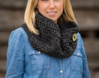 Chunky Cowl Scarf - Crochet Chunky Scarf with Button - Crochet Cowl Neck Warmer Scarves - In Charcoal Grey/Gray or Black -Crochet Cowl Scarf