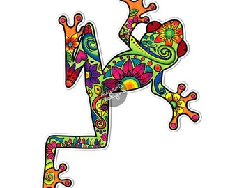 Tree Frog Car Decal Colorful Design Bumper Sticker Laptop Decal Pink Green Teal Yellow Rainforest Flowers Cute Car Decal Hippie Boho Frog