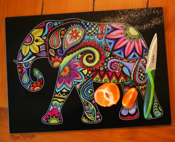 Elephant glass cutting board tempered glass kitchen colorful Colorful elephant home decor