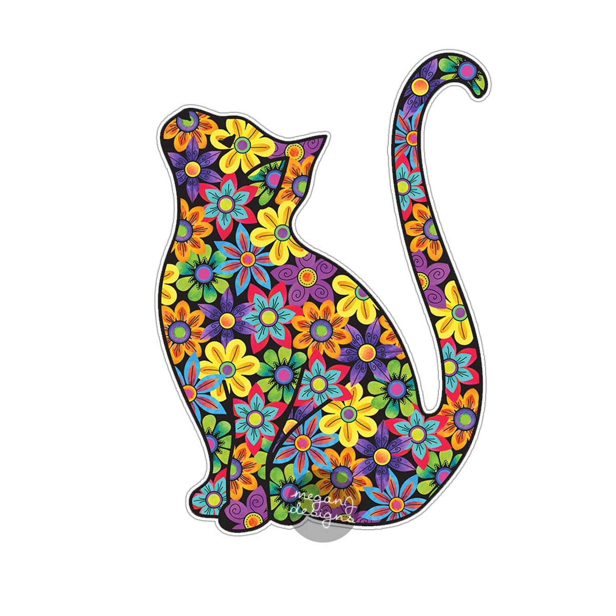 Animal Wall Sticker Cat Sticker Car Decal Laptop Decal Bumper Sticker Colorful