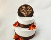 Celtic Knot Heart Wedding Cake Topper, burned wood natural cake topper