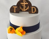 Nautical Anchor Wedding Cake Topper Set, burned wood carved with your custom letters