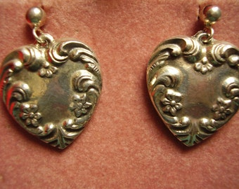 Large Vintage Sterling Silver Double Sided Heart Earring