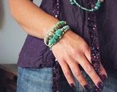 Amazonite Bracelet with Turquoise and Chrysoprase - Chunky Turquoise Bracelet Jewelry