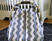 Cool 100% Cotton Baby Car Seat Canopy Cover Gray Chevron ZigZag (fitted), FREE MONOGRAMMING